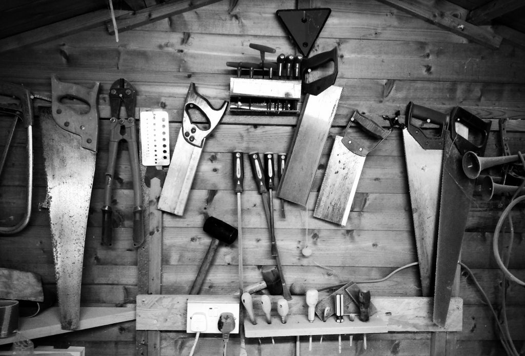 picture of wall of tools for b2b technology content marketing