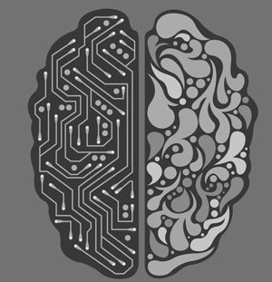 drawing of human/electronic brain
