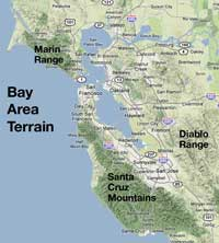 Bay Area terrain map