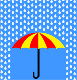 umbrella represents flood of advertising