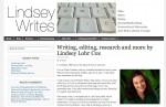 Screen grab of Linsdey-writes.com, developed by Verb Nerd Industries